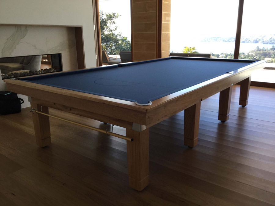 The nova snooker table in blackbutt fitting in perfectly in a Sydney home.