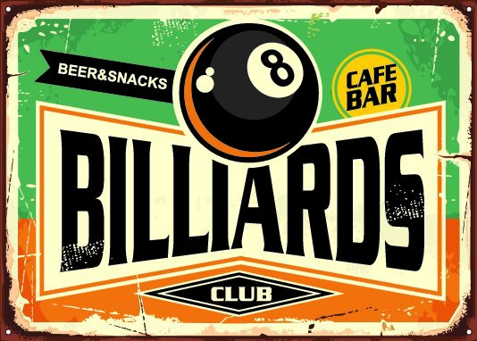 An old retro sign for a billiards club