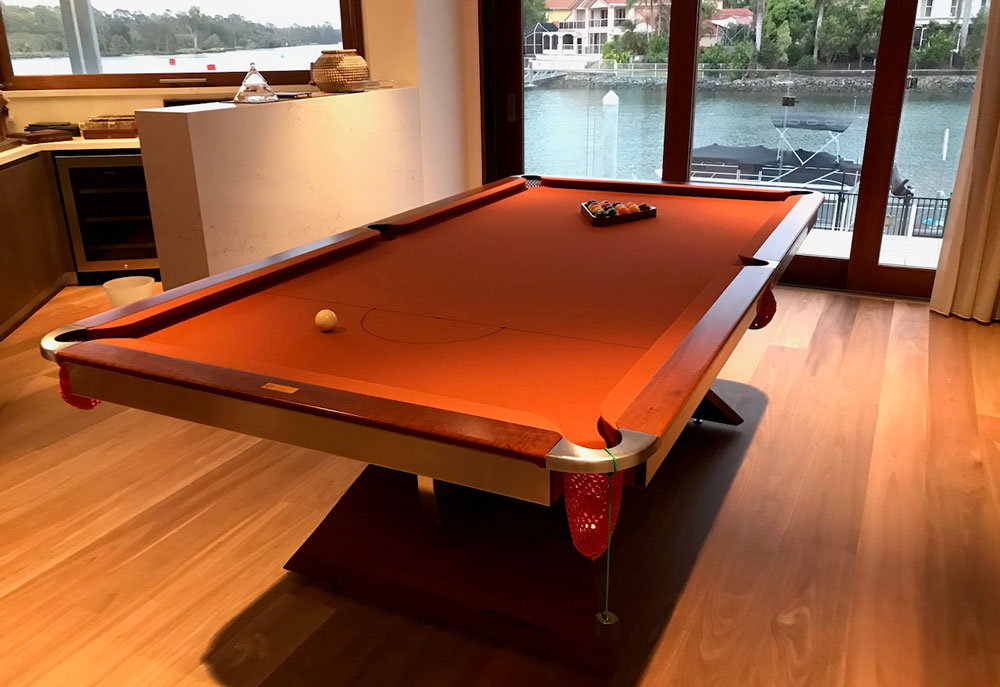 A pool table with brown felt delivered in a river side home in Eastern Australia