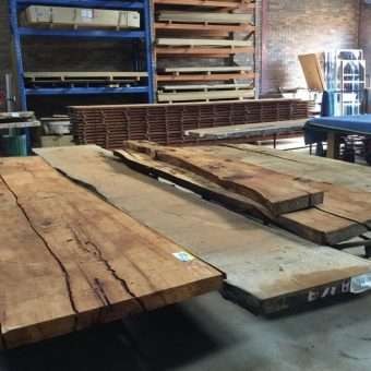 Hard wood timbers ready for display in the Quedos factory.