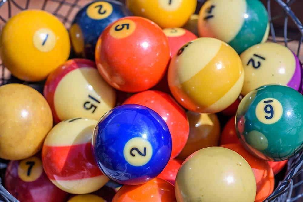 vintage pool and billiard balls